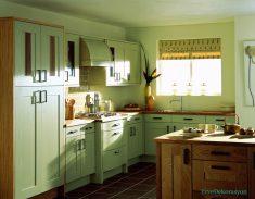 Krem Rengi Küçük Mutfak Dolap Modelleri