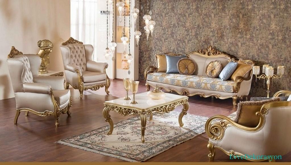 Altın Renkli Klasik Koltuk Takımı