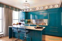 Mavi Renklerde Mutfak Dolap Fikirleri Ve Tasarımları