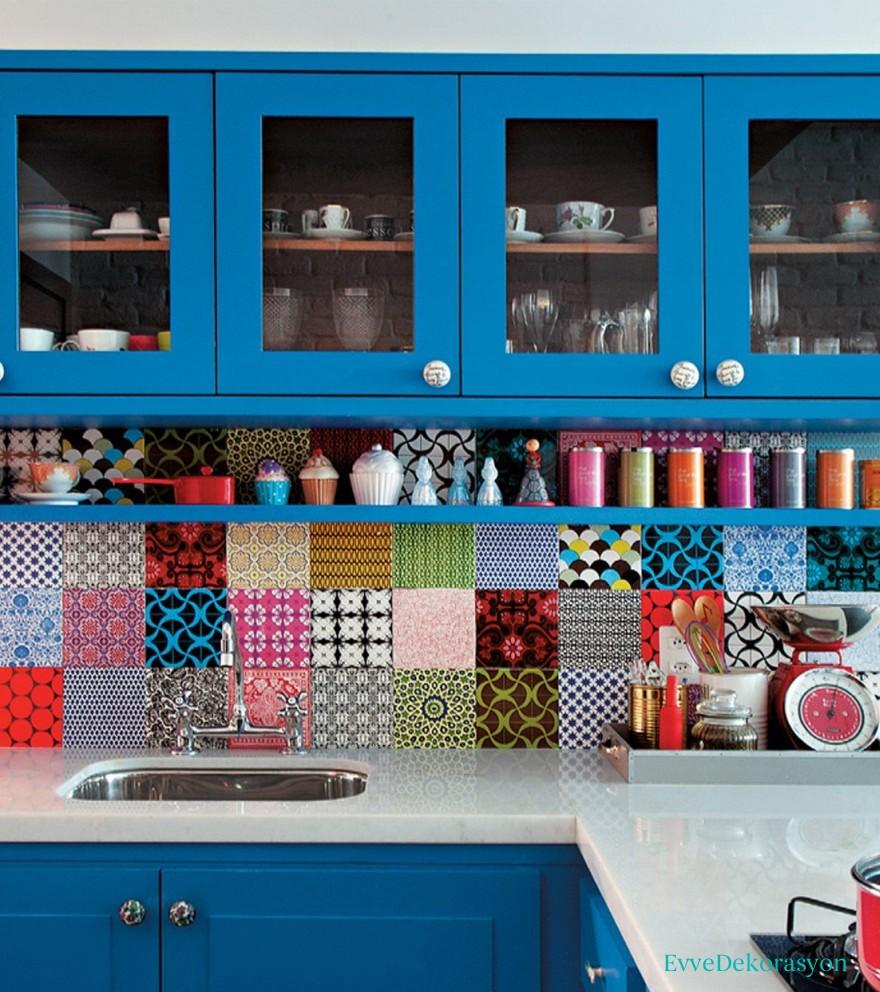 Mavi Renk Klasik mutfaklar
