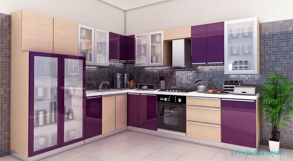 Mor Renkli Modüler Mutfak Modelleri