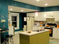 Turkuaz Rengi Mutfak Duvar Kağıdı Modelleri