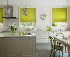 Sarı Mutfaklarda Stor Perde Modelleri