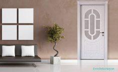 Beyaz Ve Camlı Dekoratif Salon Kapısı