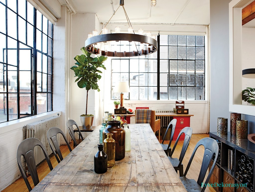 İnce Uzun Rustik Yemek Masası