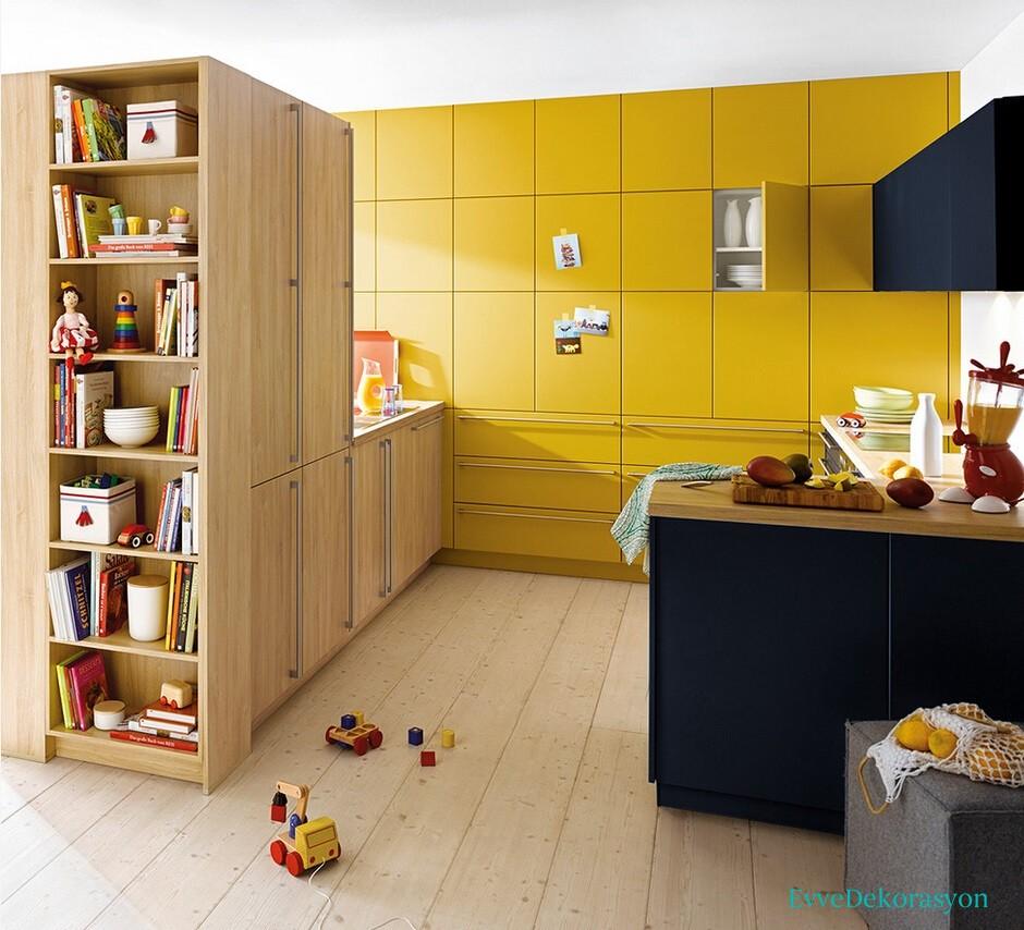 Sarı Ahşap Lake Mutfak Dolap Tasarımları Ve Fikirleri