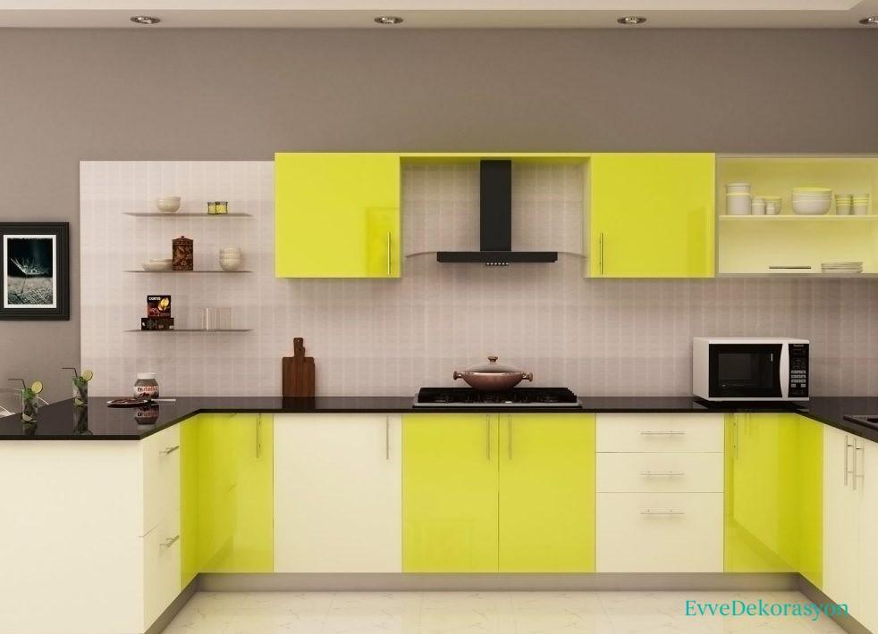 Sarı Beyaz Modüler Mutfak Modelleri Ve Tasarımları