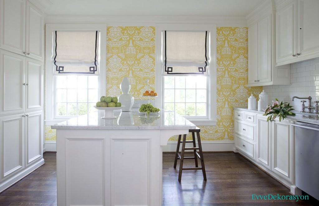 Sarı Renk Mutfak Duvar Kağıt Fikirleri