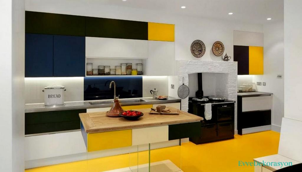 Mutfak Zeminlerde Ve Duvarlarında Sarı Renk Uyumu