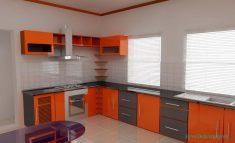 Turuncu Ve Gri Renklerde Modüler Mutfak Stilleri