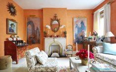 Turuncu renkli oturma odası modelleri