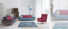 Farklı renk kombinasyonlarının uygulandığı oturma odası takımları