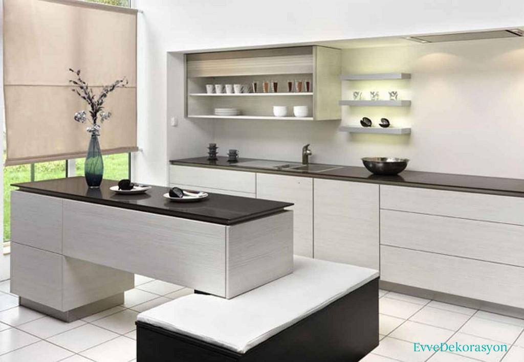 Mutfaklarda Farklı Çizgilere Ve Şekillere Sahip Mobilya Kullanımı