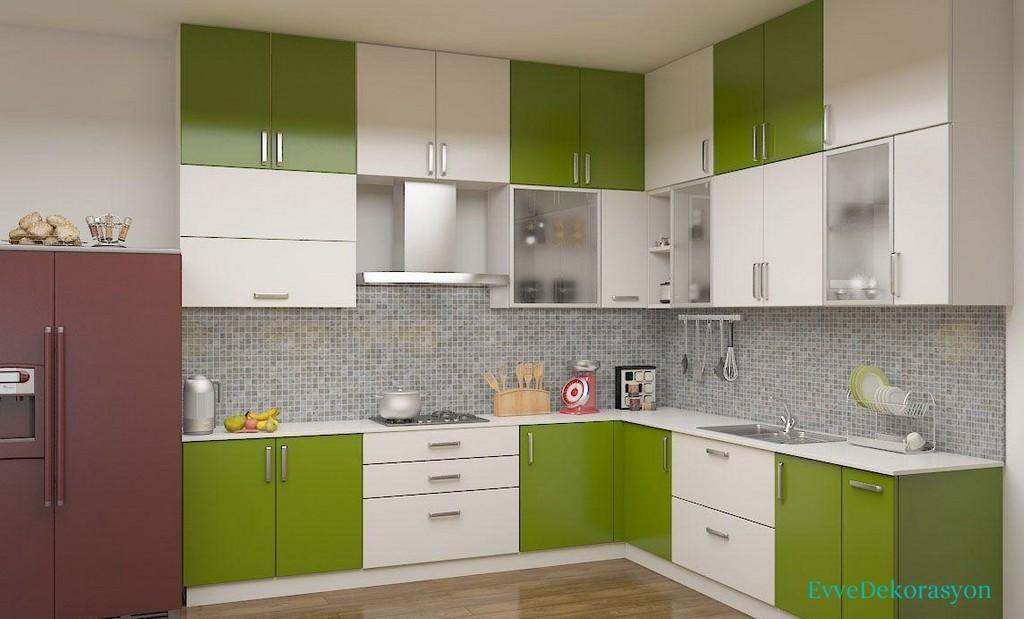 Yeşil Beyaz Modüler Mutfak Dizaynları Ve Modelleri