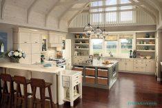 Büyük alanda antika mutfak tasarımları
