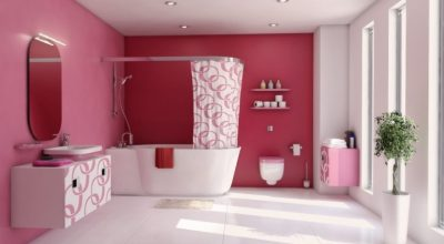 Pembe Renk Banyo Dekorasyonu Fikirleri