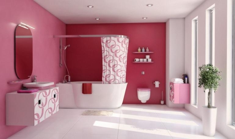 Geniş banyolarda pembe renk