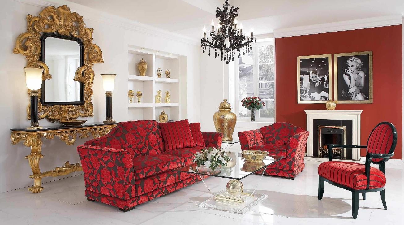 Kırmızı siyah koltuk takımlı salon