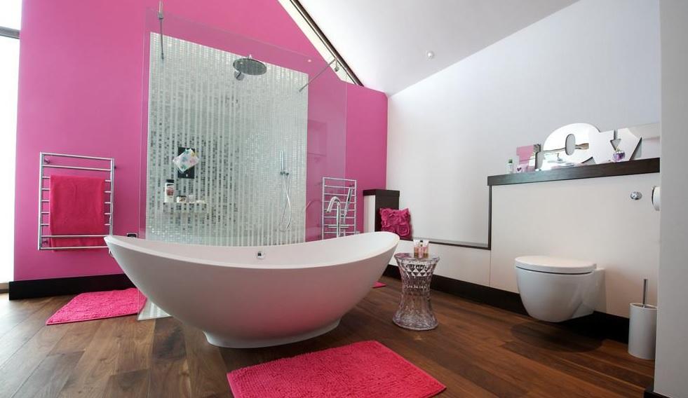 Pembe duvar renkli banyo