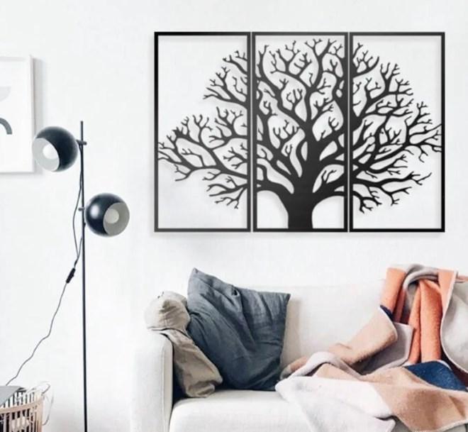 Metal Duvar Süsü : 3 Parça Ağaç Şeklinde Metal Duvar Süsü