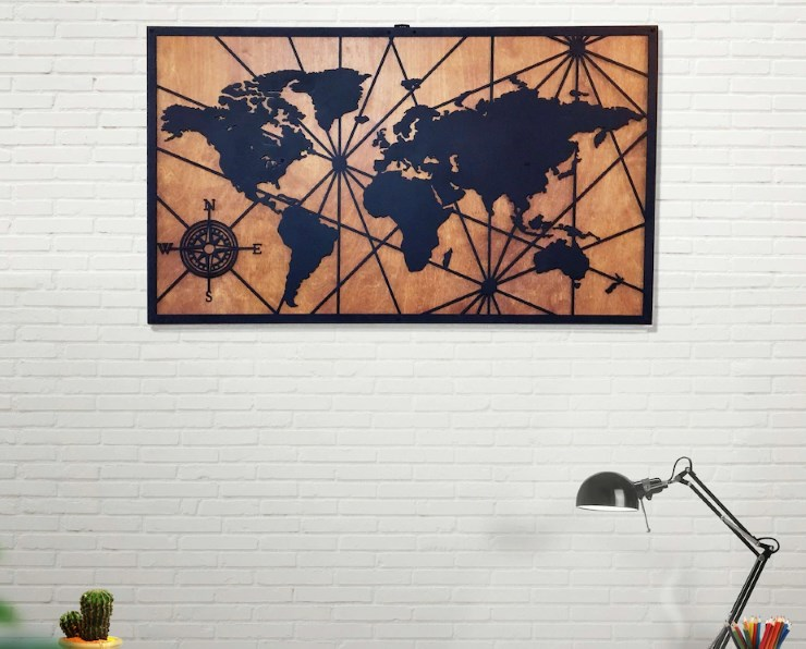 Metal Duvar Süsü : Dünya Haritası Ahşap & Metal Duvar Süsü