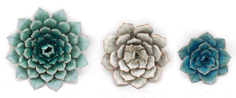 Metal Duvar Süsü : Üçlü Çiçek Seti