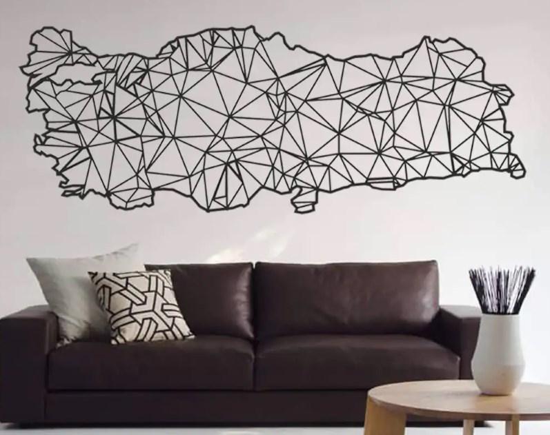 Metal Duvar Süsü : Türkiye Haritası Metal Duvar Süsü